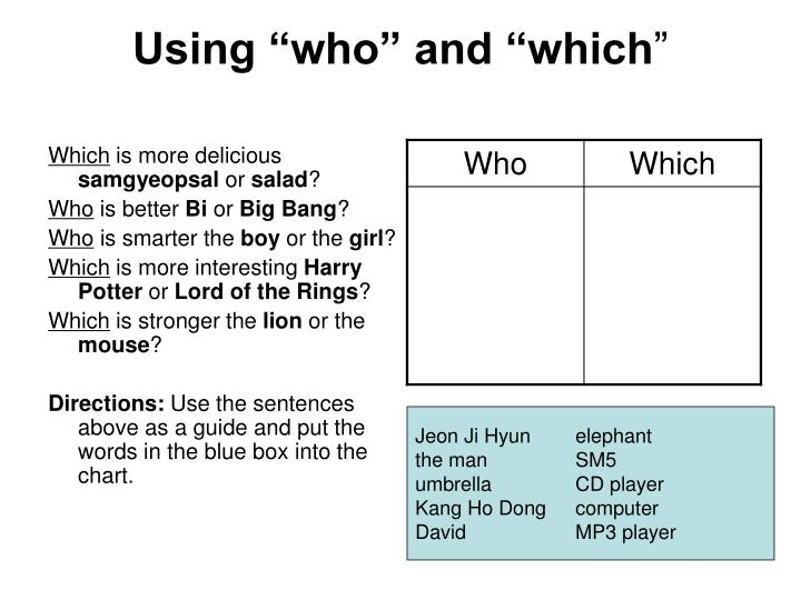 "Using ""who"" and ""which"