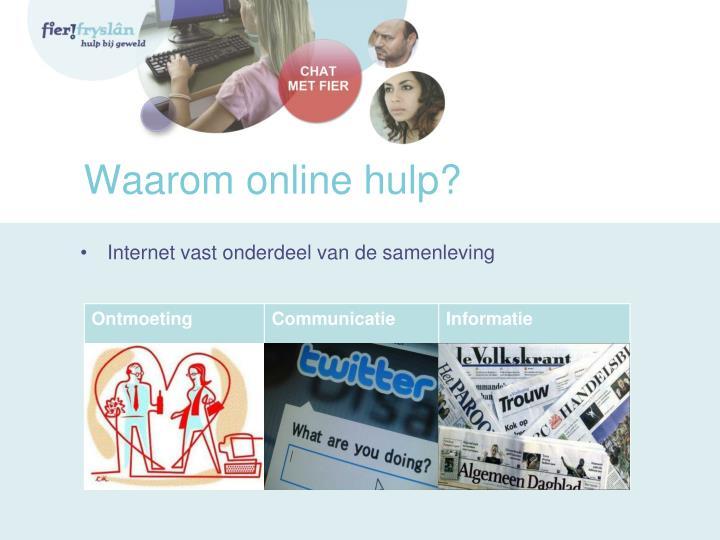 Waarom online hulp?