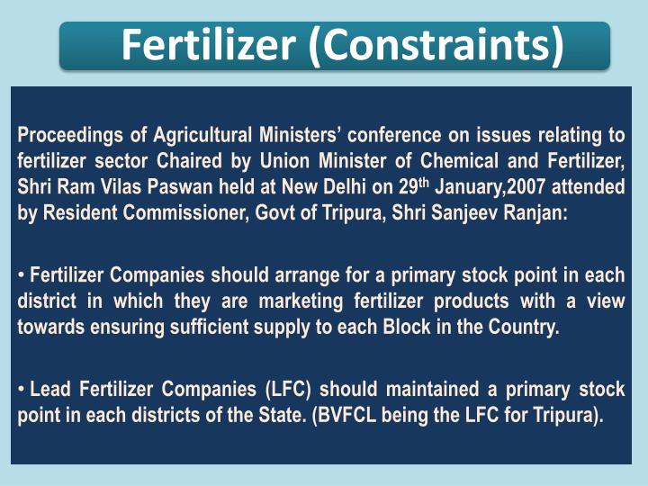 Proceedings of Agricultural Ministers' conference on issues relating to fertilizer sector Chaired by Union Minister of Chemical and Fertilizer,