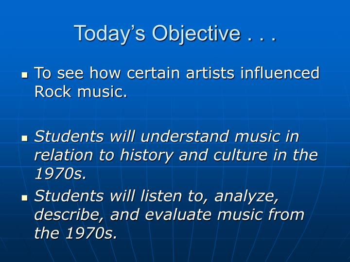 Today's Objective . . .