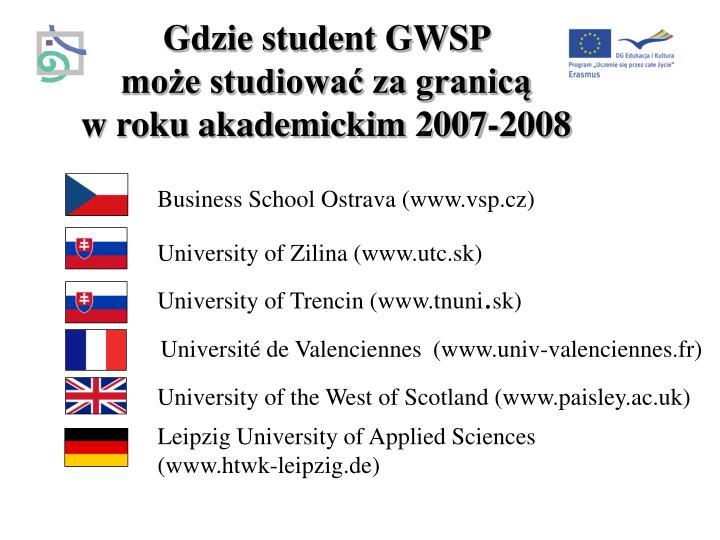 Gdzie student GWSP