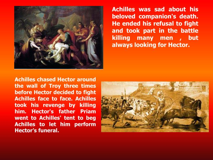Achilles was sad about his beloved companion's death. He ended his refusal to fight and took part in the battle killing many men , but always looking for Hector.