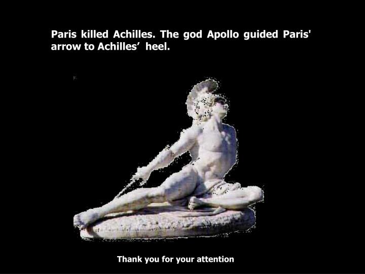 Paris killed Achilles. The god Apollo guided Paris' arrow to Achilles'  heel.