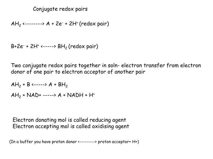 Conjugate redox pairs