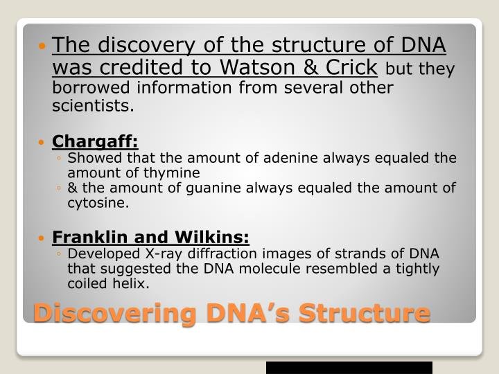The discovery of the structure of DNA was credited to Watson & Crick