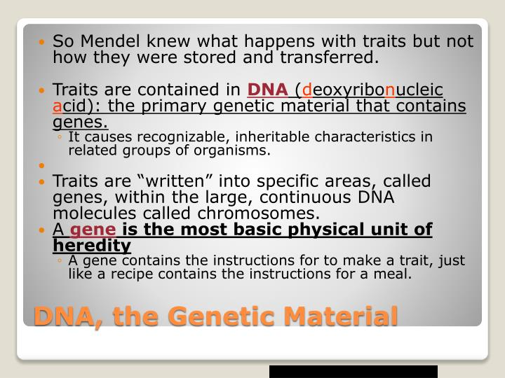 So Mendel knew what happens with traits but not how they were stored and transferred.