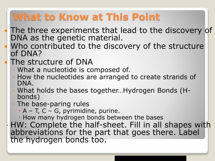 The three experiments that lead to the discovery of DNA as the genetic material.