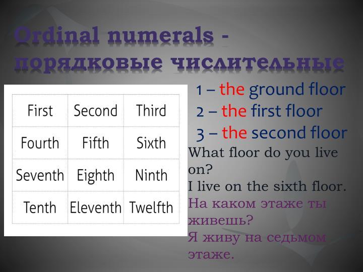 Ordinal numerals