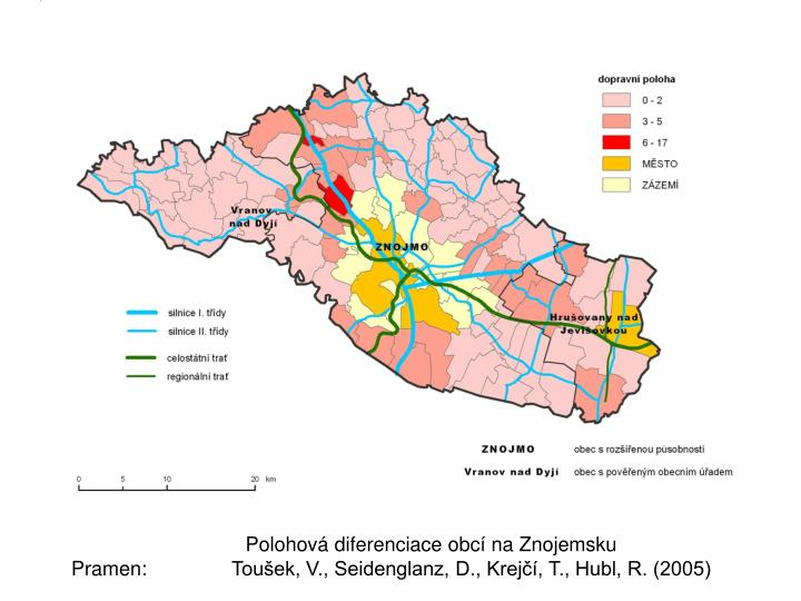 Polohová diferenciace obcí na Znojemsku