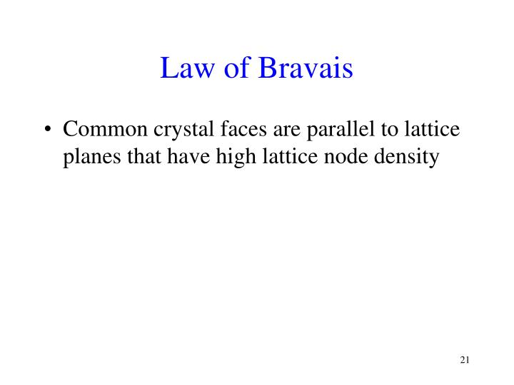 Law of Bravais