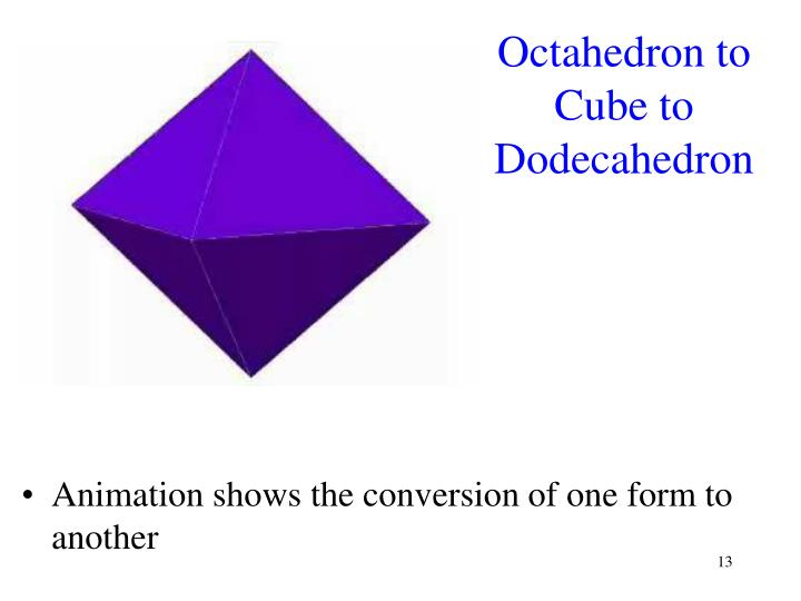 Octahedron to Cube to Dodecahedron