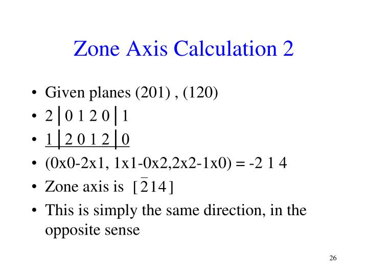 Zone Axis Calculation 2