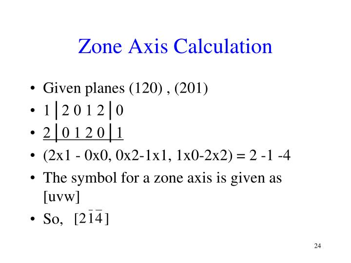 Zone Axis Calculation