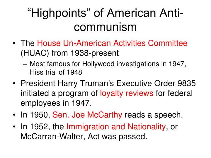 """Highpoints"" of American Anti-communism"