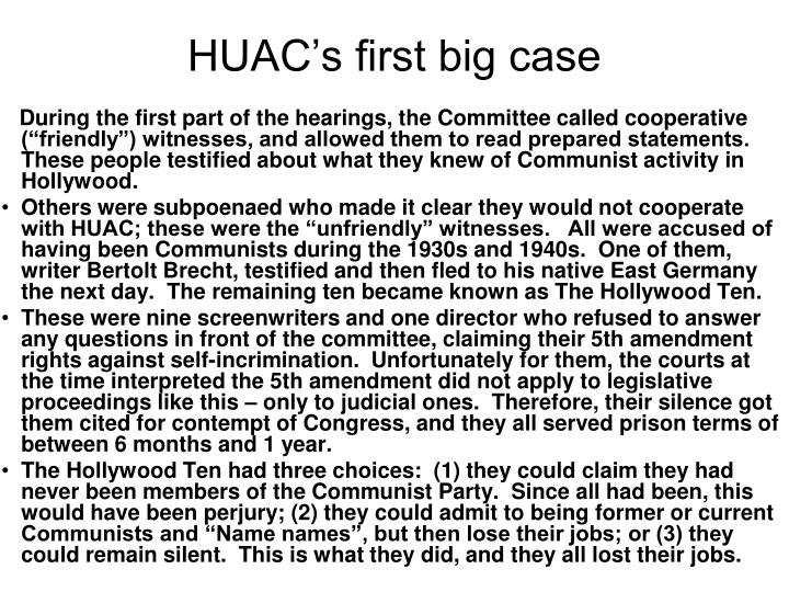HUAC's first big case