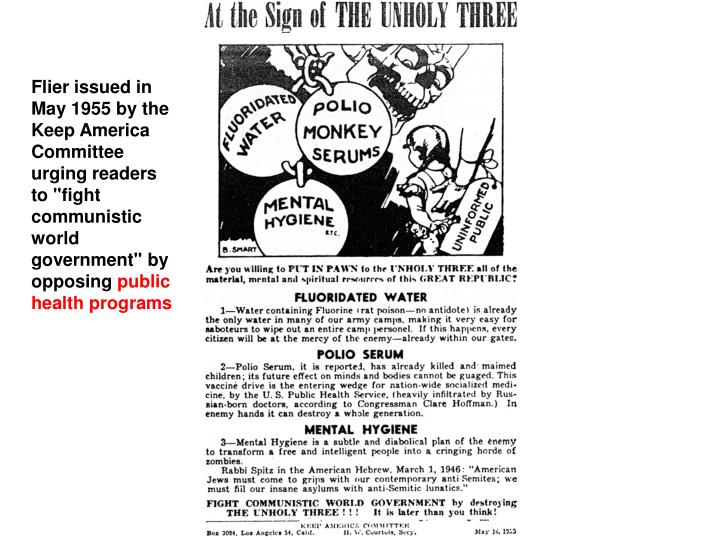 "Flier issued in May 1955 by the Keep America Committee urging readers to ""fight communistic world government"" by opposing"