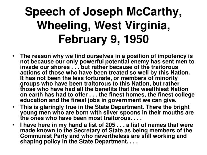 Speech of Joseph McCarthy, Wheeling, West Virginia, February 9, 1950