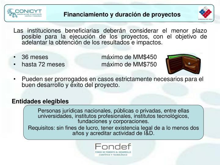 Financiamiento y duración de proyectos
