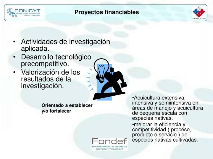 Proyectos financiables