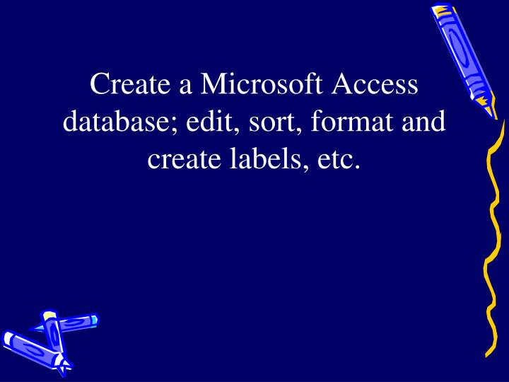 Create a Microsoft Access database