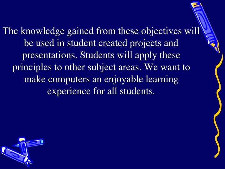The knowledge gained from these objectives will be used in student created projects and presentations.