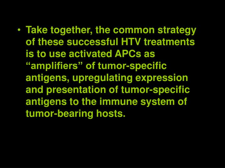Take together, the common strategy of these successful HTV treatments is to use activated APCs as amplifiers of tumor-specific antigens, upregulating expression and presentation of tumor-specific antigens to the immune system of tumor-bearing hosts.