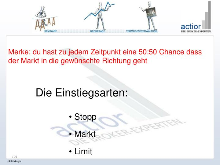Merke: du hast zu jedem Zeitpunkt eine 50:50 Chance dass der Markt in die gewünschte Richtung geht