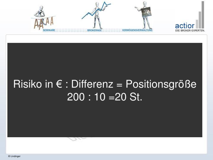 Risiko in € : Differenz = Positionsgröße