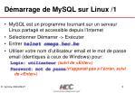 d marrage de mysql sur linux 1