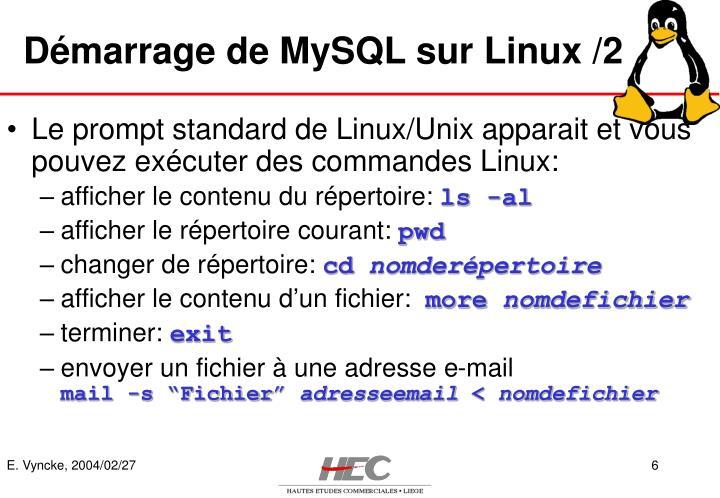 Démarrage de MySQL sur Linux /2