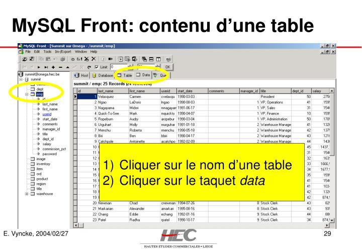 MySQL Front: contenu d'une table