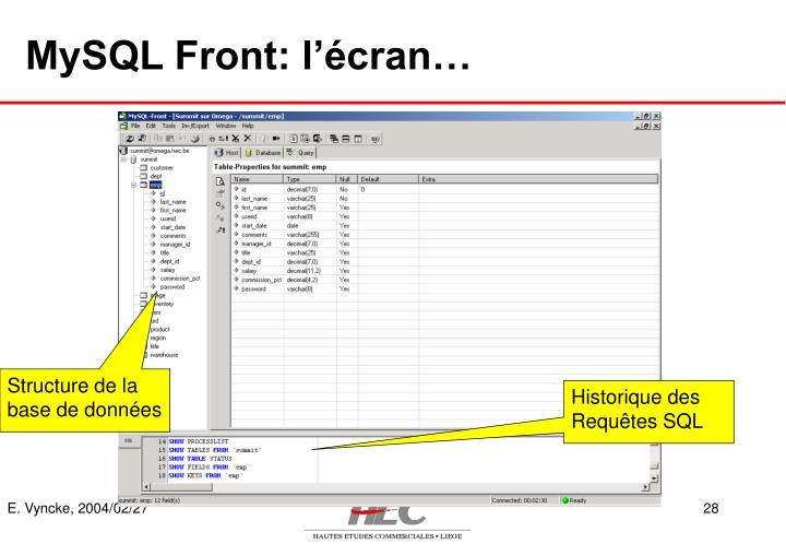 MySQL Front: l'écran…