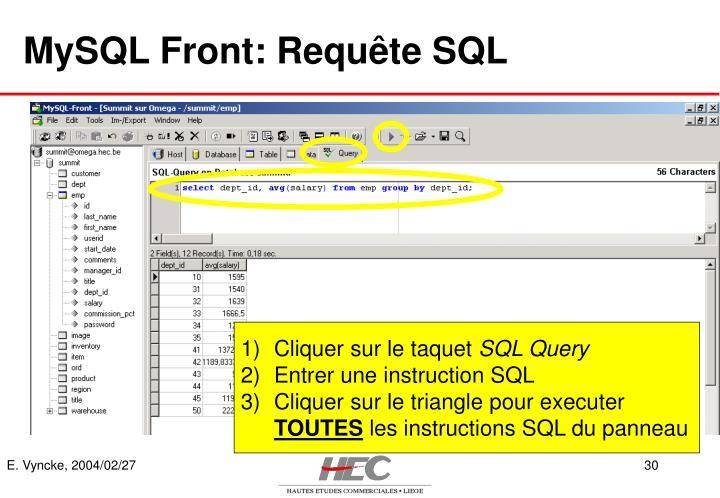 MySQL Front: Requête SQL