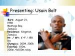 presenting usain bolt