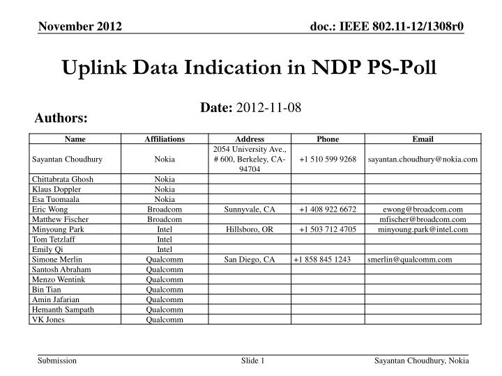 Uplink Data Indication in NDP PS-Poll