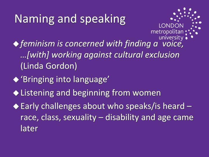 Naming and speaking