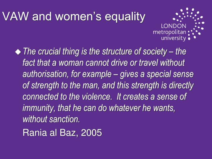 VAW and women's equality