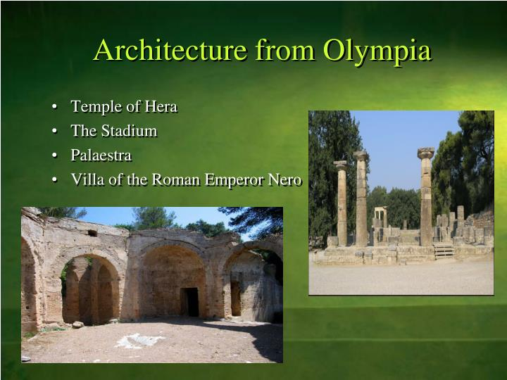 Architecture from Olympia