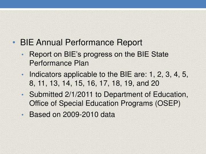 BIE Annual Performance Report