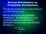 normal distributions as probability distributions