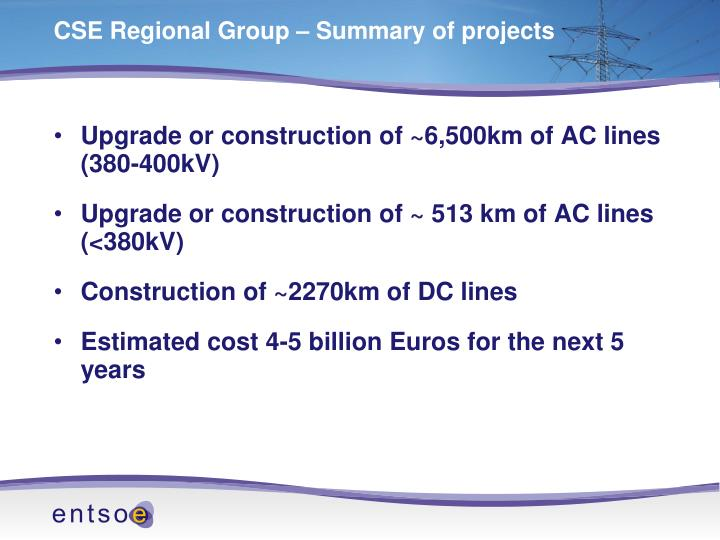 CSE Regional Group – Summary of projects