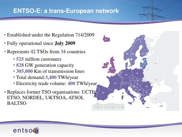 ENTSO-E: a trans-European network