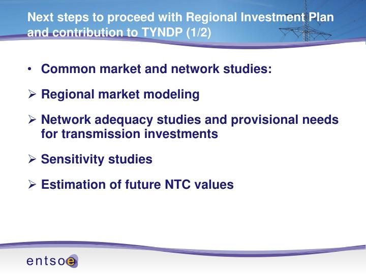 Next steps to proceed with Regional Investment Plan and contribution to TYNDP (1/2)