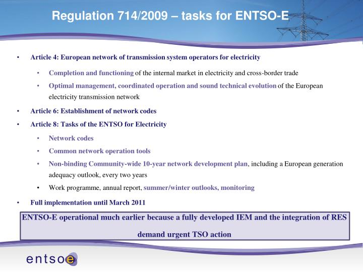 Regulation 714/2009 – tasks for ENTSO-E