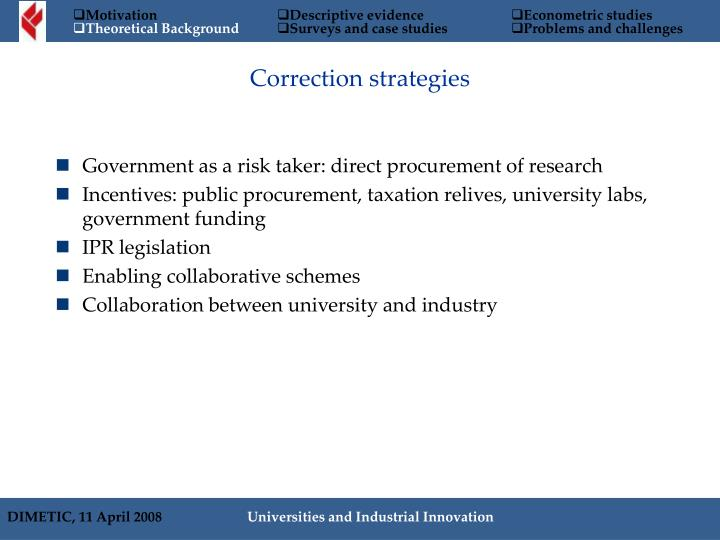 Correction strategies
