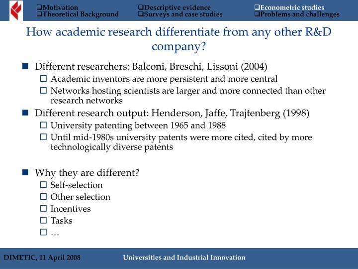 Different researchers: Balconi, Breschi, Lissoni (2004)