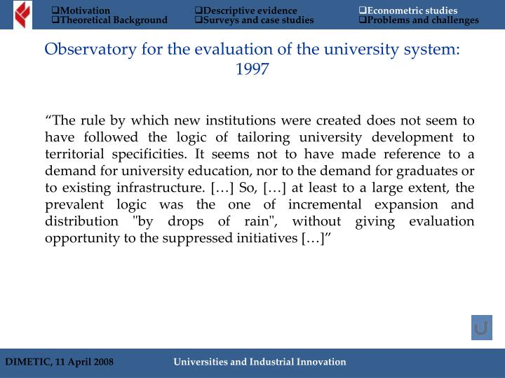 Observatory for the evaluation of the university system: 1997