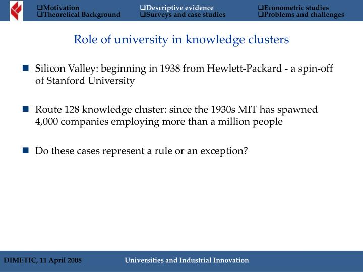 Silicon Valley: beginning in 1938 from Hewlett-Packard - a spin-off of Stanford University