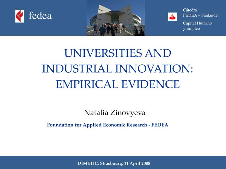 Universities and industrial innovation empirical evidence