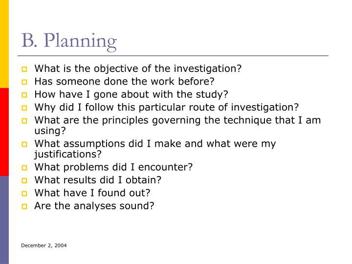 B. Planning